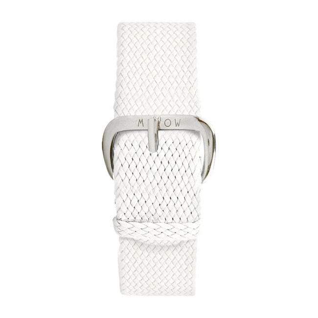 Braided Nylon Watch Band, White and Silver