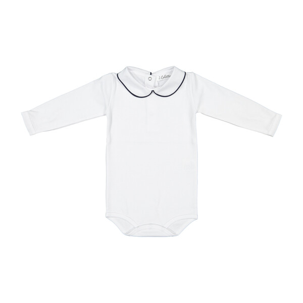 Long Sleeved Collared Bodysuit, White with Navy Trim