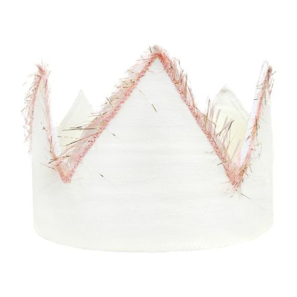 Linen Crown with Pink Trim
