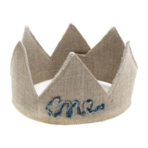 One Linen Crown with Blue Yarn