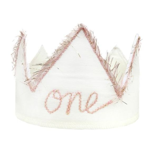 One Linen Crown with Pink Trim