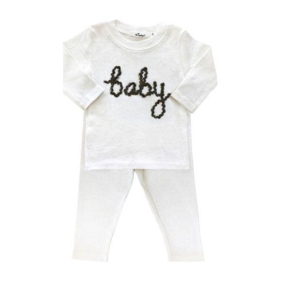 Baby Long Sleeve Two-Piece Set, Charcoal