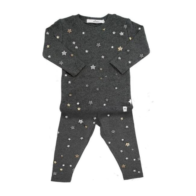 Stars Long Sleeve Two-Piece Set, Charcoal with Silver Foil