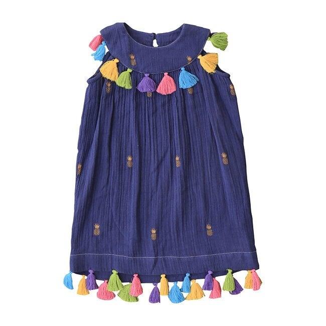 Katrina Dress, Indigo Gold Pineapple