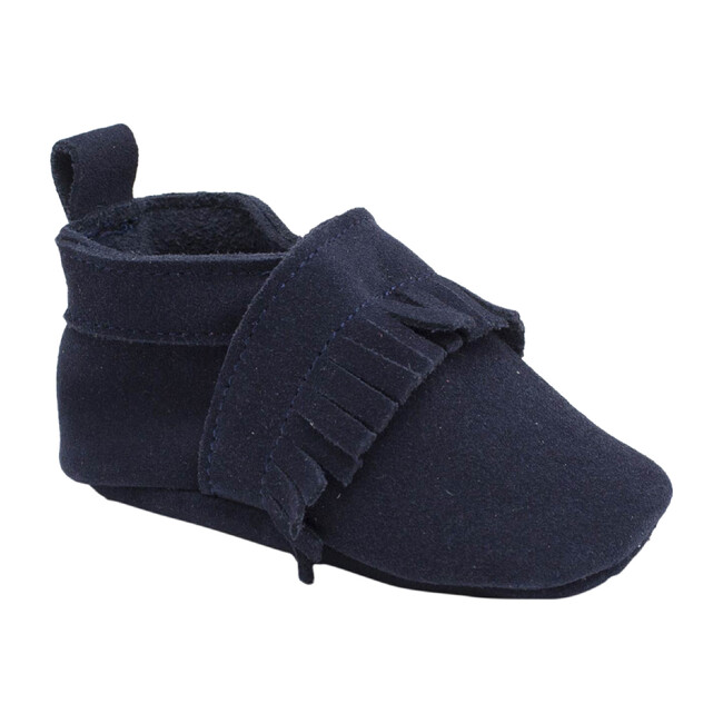 Maxence Slipper with Fringes, Marine Blue