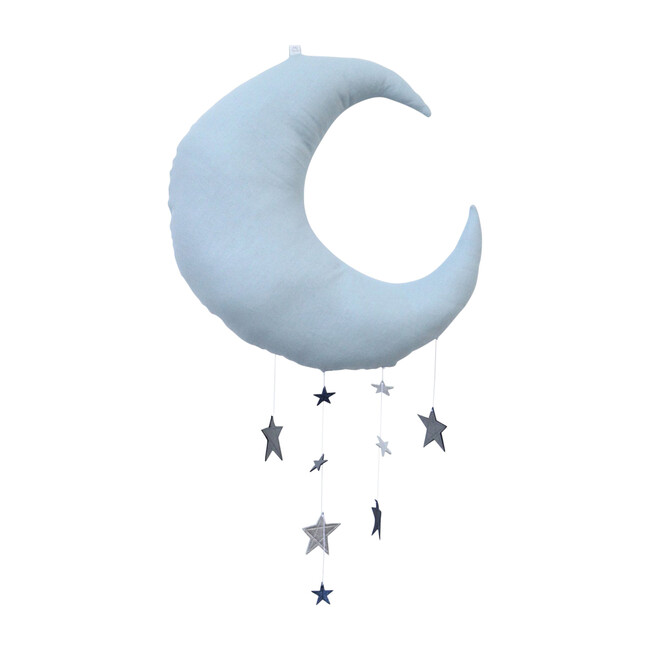 LUXE Cascading Moon Mobile, Dusty Blue Silver & Saphire