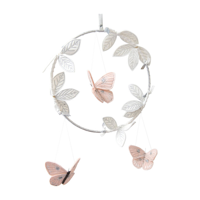 LUXE Butterfly Mobile in Blush Silver & White