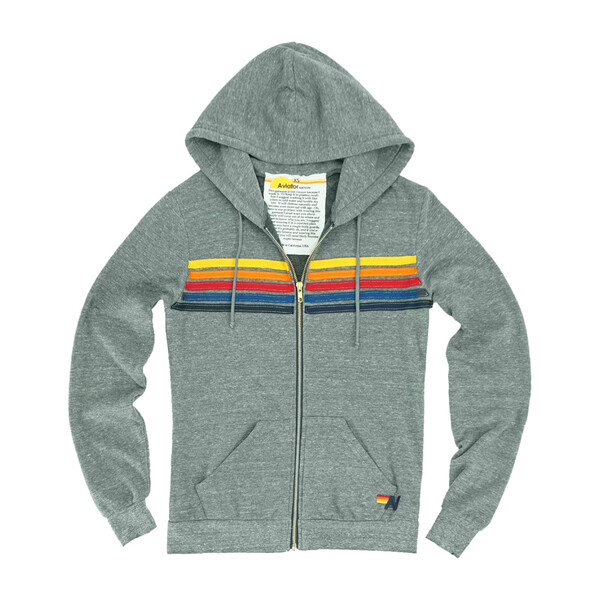 Adult 5 Stripe Zip Hoodie, Heather Grey