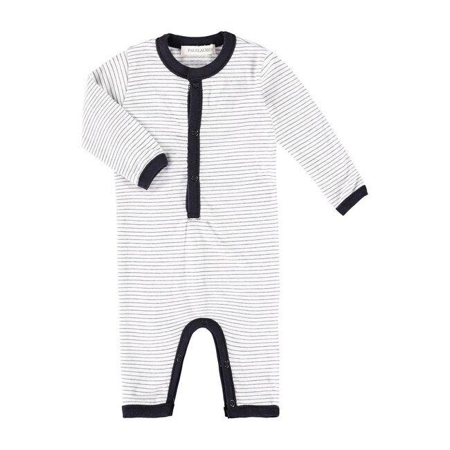 Baby Long Sleeve Romper, White Sand