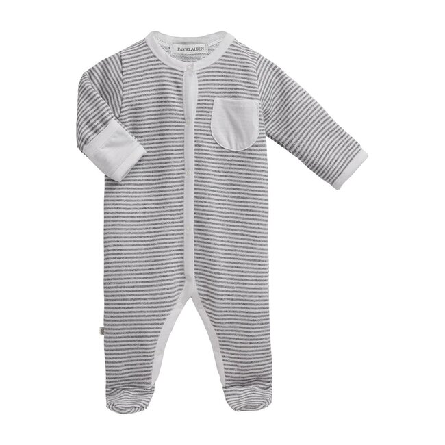 Baby Long Sleeve Romper with Footie, Seashell White