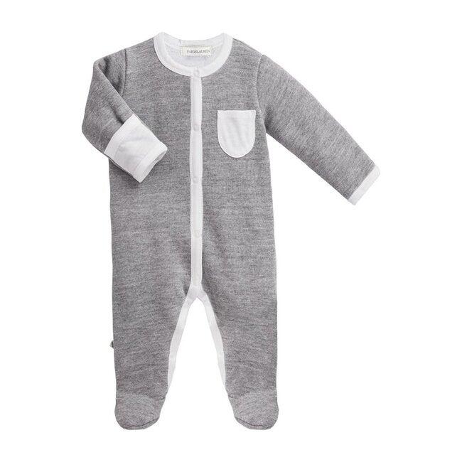 Baby Long Sleeve Romper with Footie, Heather Grey