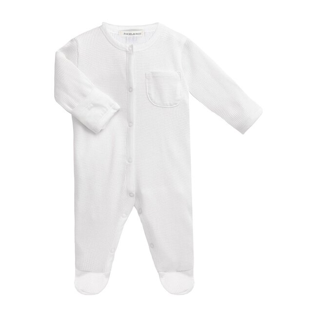 Baby Long Sleeve Romper with Footie, Whisper White