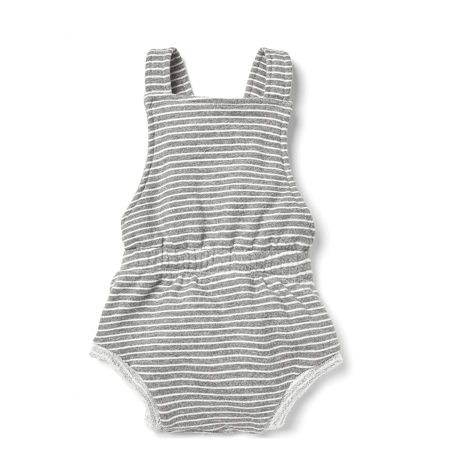 Striped Bloomer Overalls, Natural/Charcoal