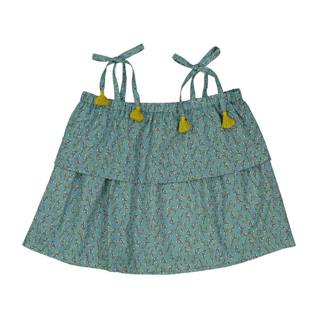 Baby Amelie Top, Turquoise Buds - Blouses - 1