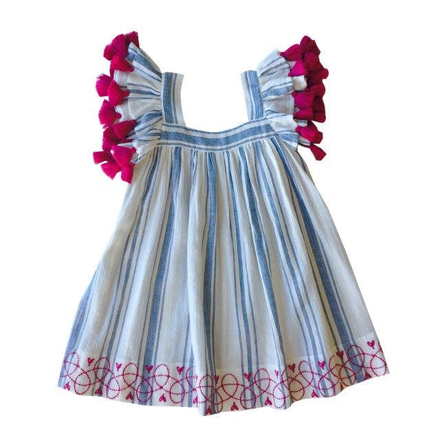 Serena Tassel Dress, Blue Stripe
