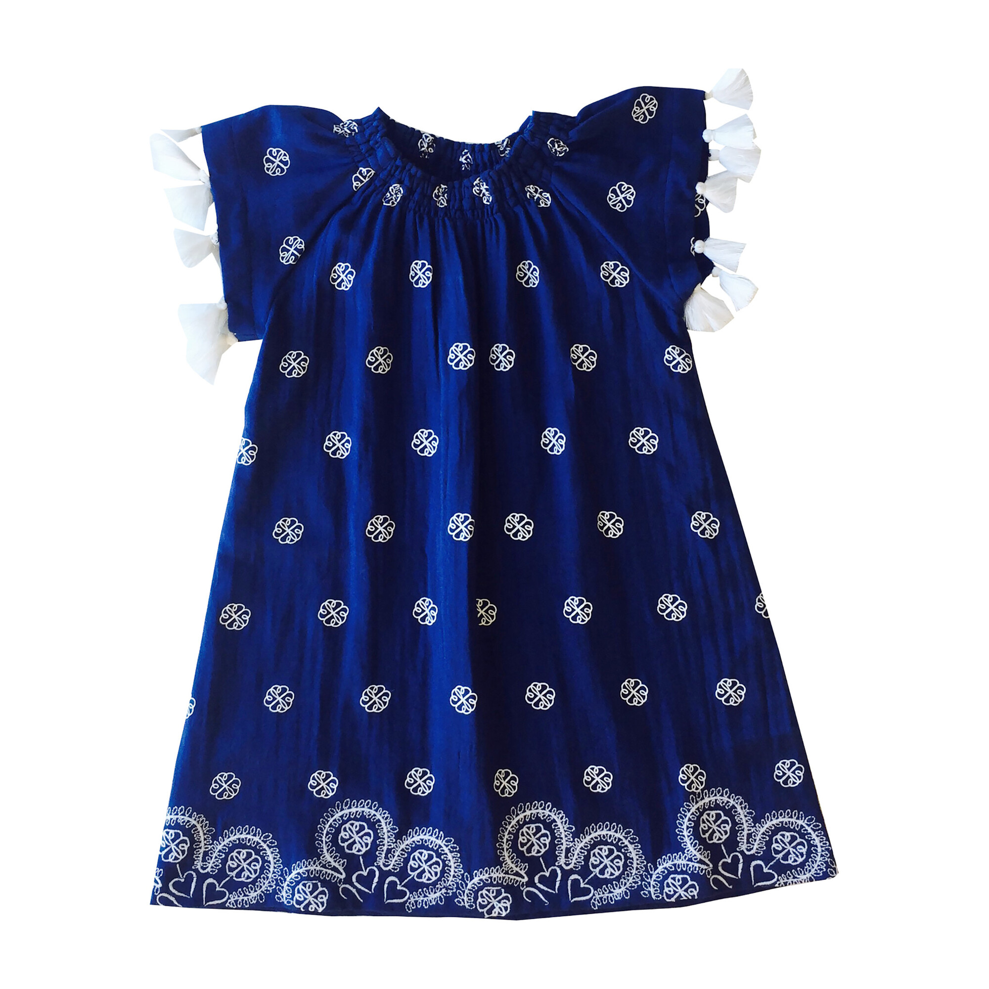 Hadley Smocked Tassel Tunic, Navy Embroidery