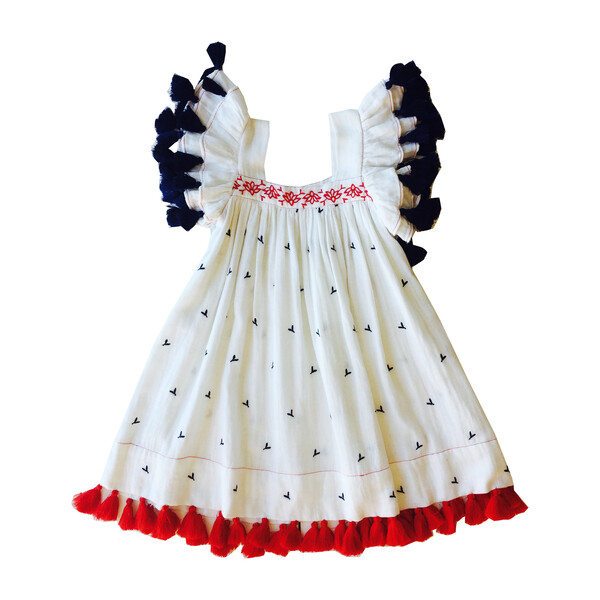 Serena Tassel Dress, Red White and Blue Embroidery