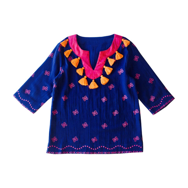 Campbell Tassel Tunic, Navy Embroidery