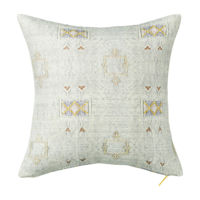 Cactus Silk Printed Square Pillow, Iris