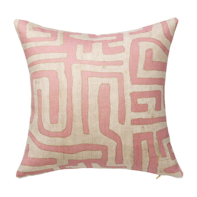 Kuba Cloth Printed Pillow, Terracotta