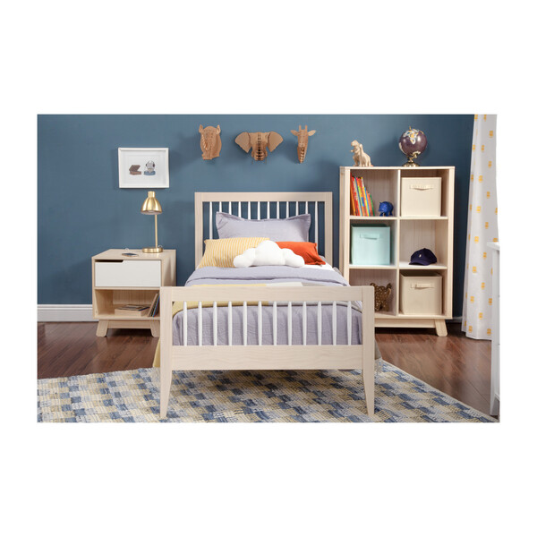 Sprout Platform Twin Bed, Washed Natural and White