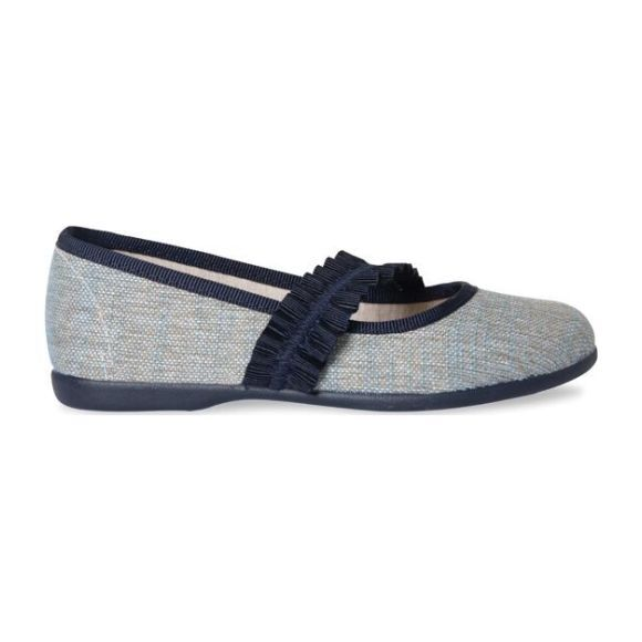 Brushed Linen Mary Janes with Ruched Grosgrain, Blue