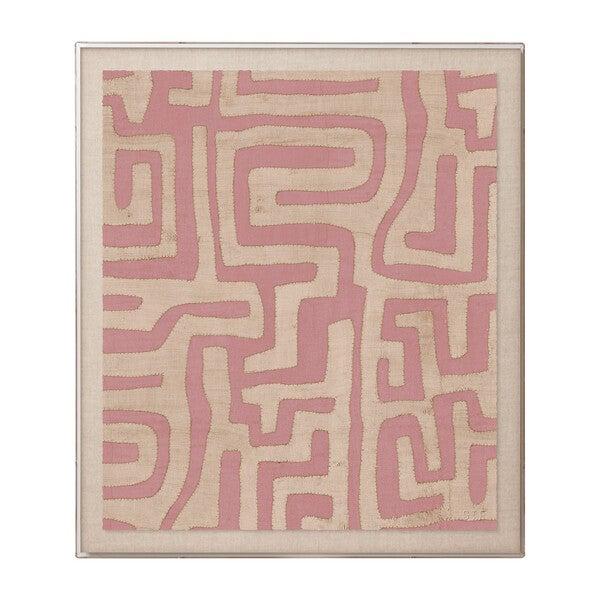 Kuba Cloth Framed Accent Print, Terracotta