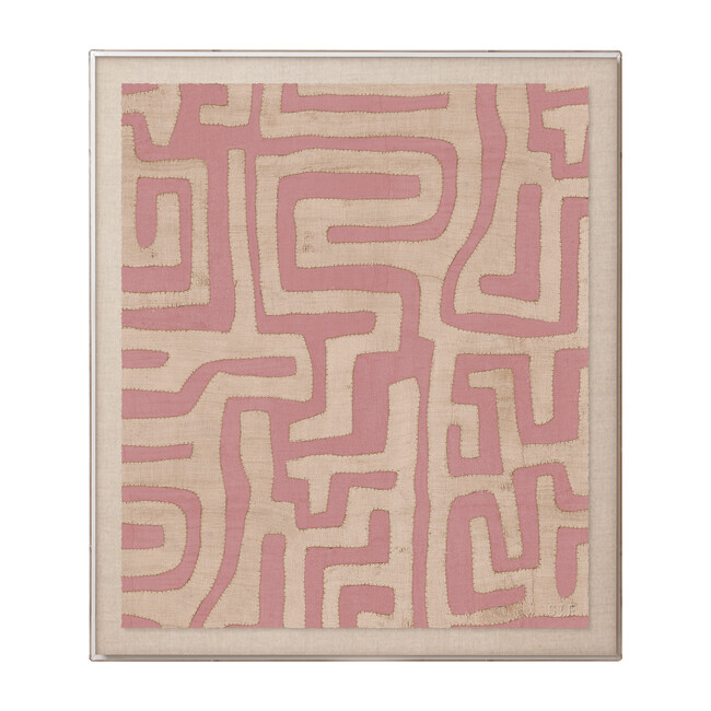 Kuba Cloth Framed Accent Print, Terracotta