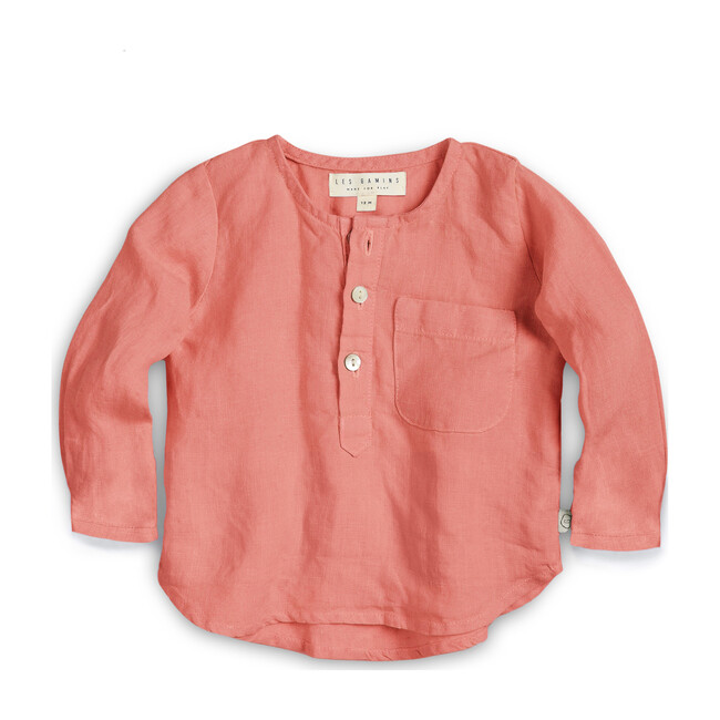 Linen Popover Shirt, Vintage Coral