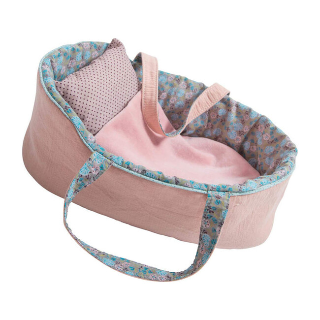 Doll Moses Basket, Pink Multi
