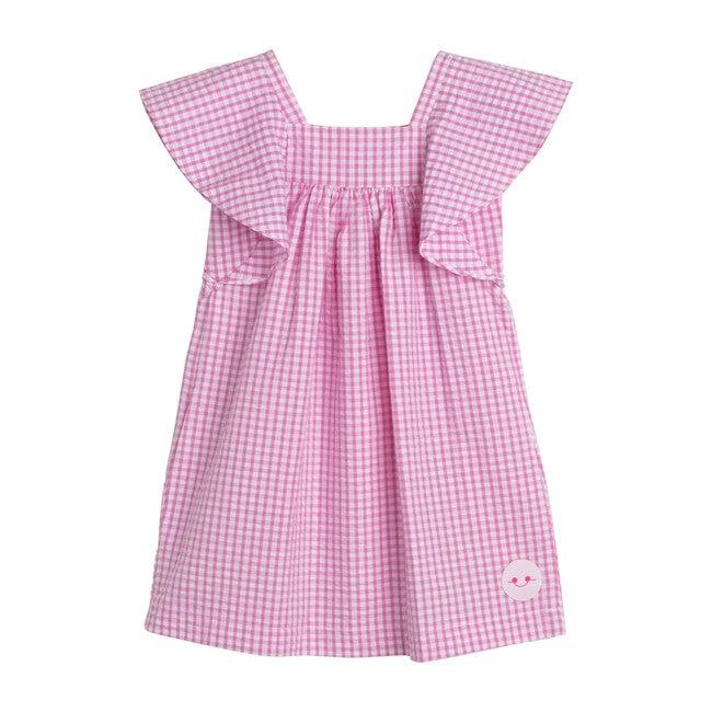 Gingham Seersucker Flutter, Pink