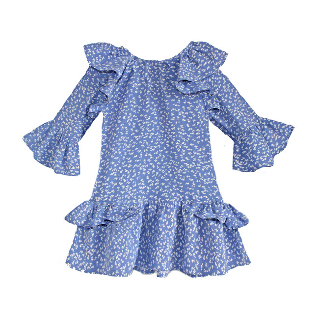 Willie Mae Peasant Dress, Blue