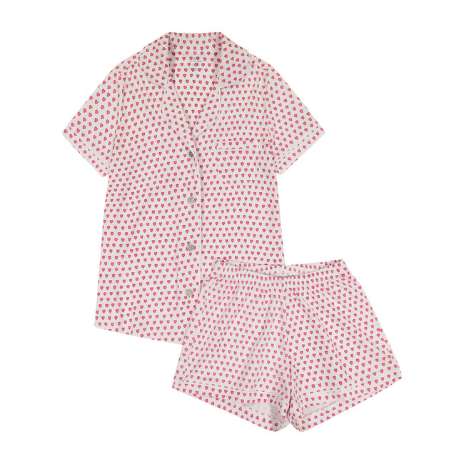 Women's Hearts Polo Pajama Set, Pink
