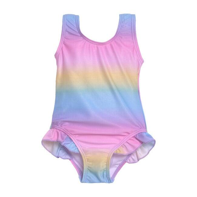 UPF 50+ Delaney Hip Ruffle Swimsuit, Rainbow Ombre