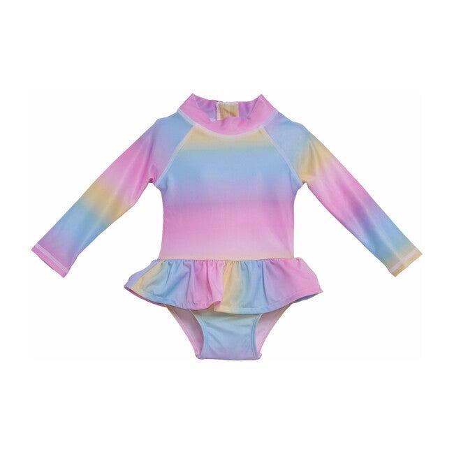 UPF 50+ Alissa Infant Ruffle Rash Guard Swimsuit, Rainbow Ombre