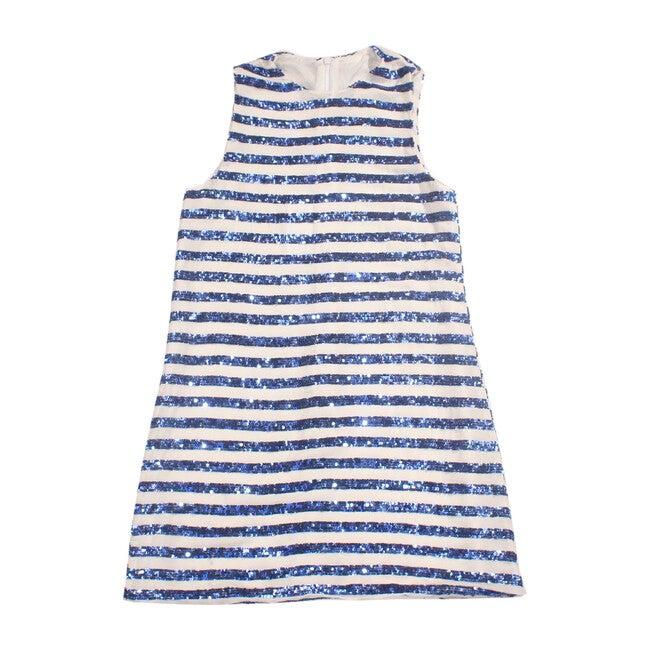 Nico Dress, Blue & White