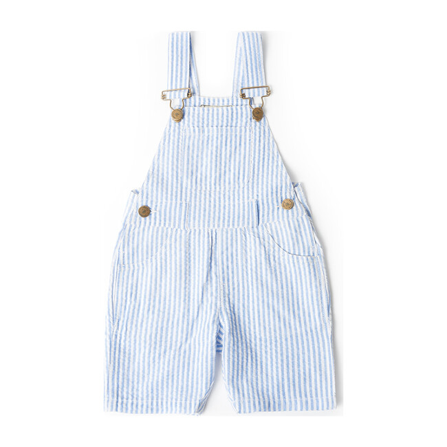 Blue Seersucker Overall Shorts