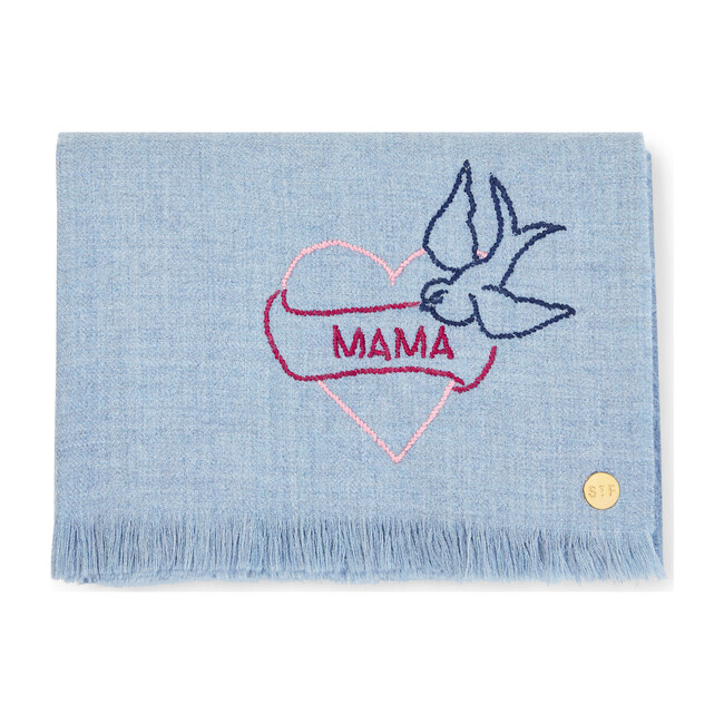 """""""Mama"""" Tattoo Embroidered Baby Alpaca Throw - Throws - 1"""