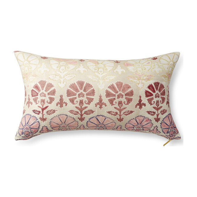 "Suzani Silk Pillow, Blush 32 "" x 18"""