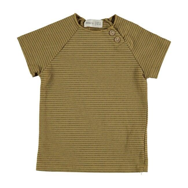 Clover Button Tee, Mustard Stripe