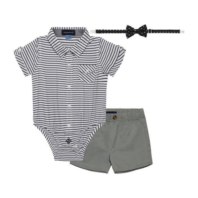 Baby 3-Piece Sunny Day Set, Grey Stripe - Mixed Apparel Set - 1