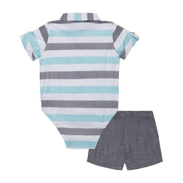 Baby 3-Piece Sunny Day Set, Blue & Grey Stripe