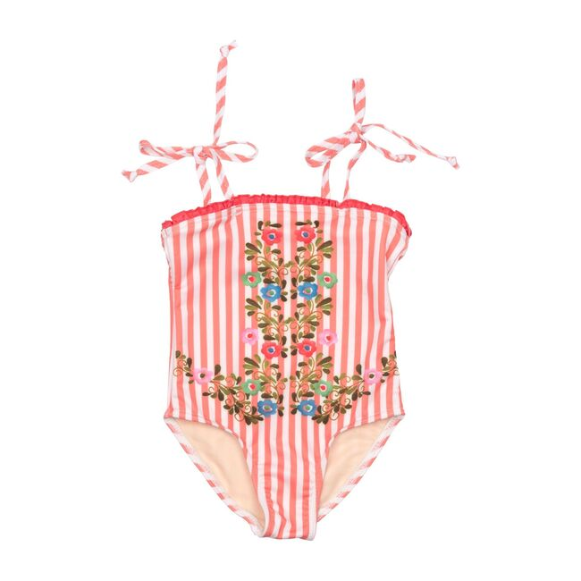 Hero Suit, Pink Stripe with Embroidery