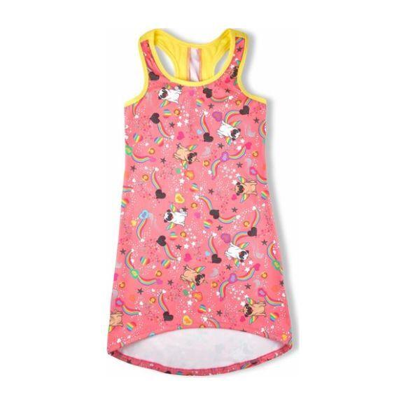 Pugicorn Racer Back Dress, Pink