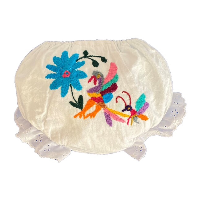 Embroidered Baby Bloomers, White/Multi