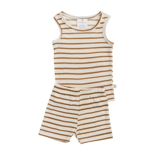 Merino Wool Short Johns, Ochre Stripe