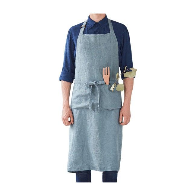 Adult Linen Chef Apron, Blue Fog