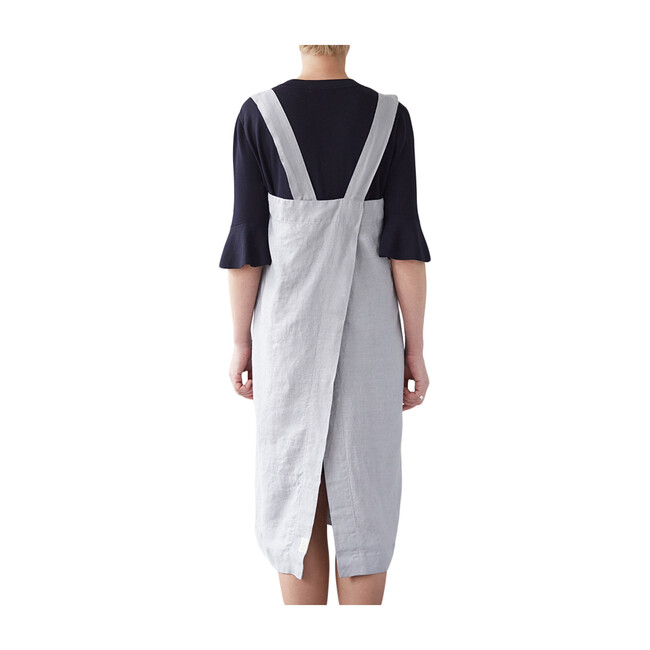Adult Linen Pinafore Apron, Light Grey