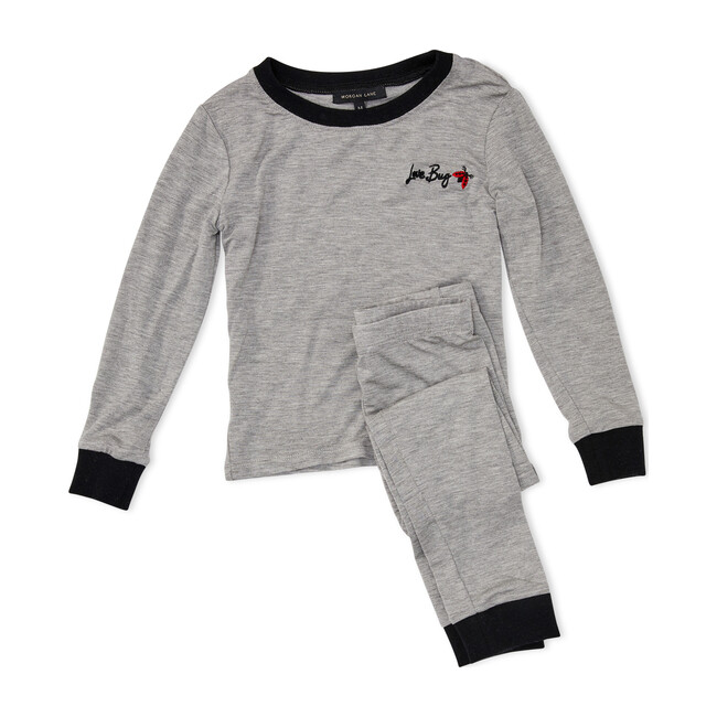 Kids Lulu PJ Set, Gray & Noir