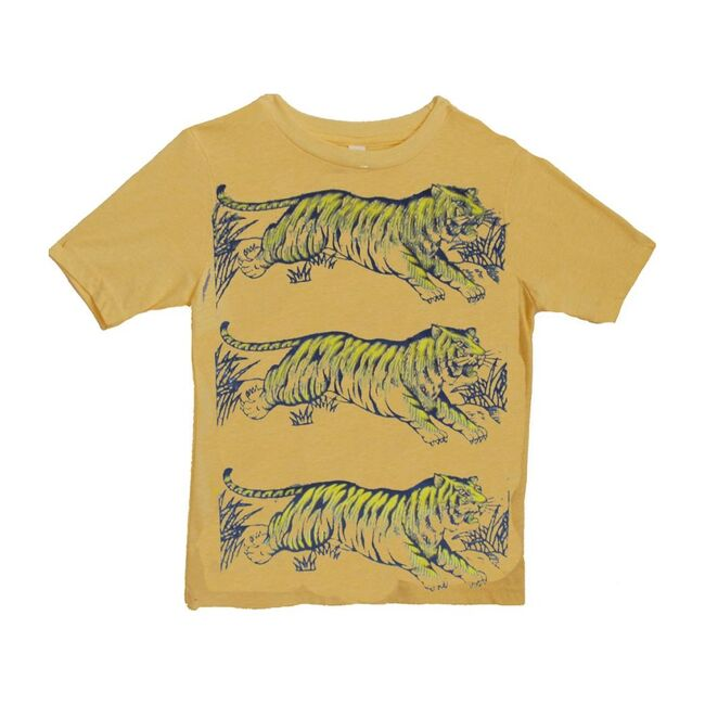 Leaping Tigers Cotton Tee, Antique Gold